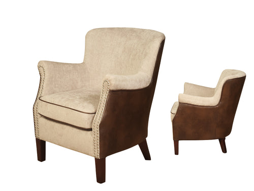 Harlow Fusion Armchair in Mink & Tan