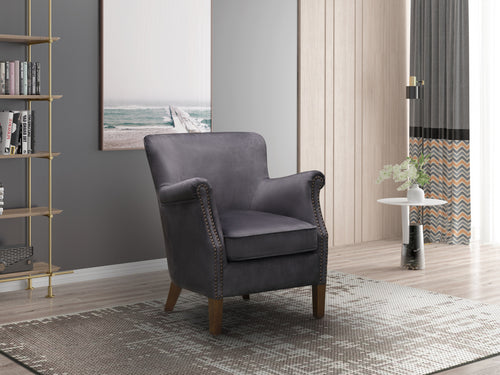 Harlow Vintage Armchair in Charcoal Grey