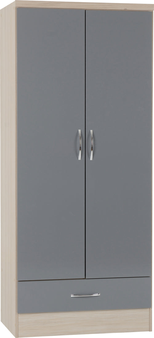 Nevada 2 Door 1 Drawer Wardrobe in Grey