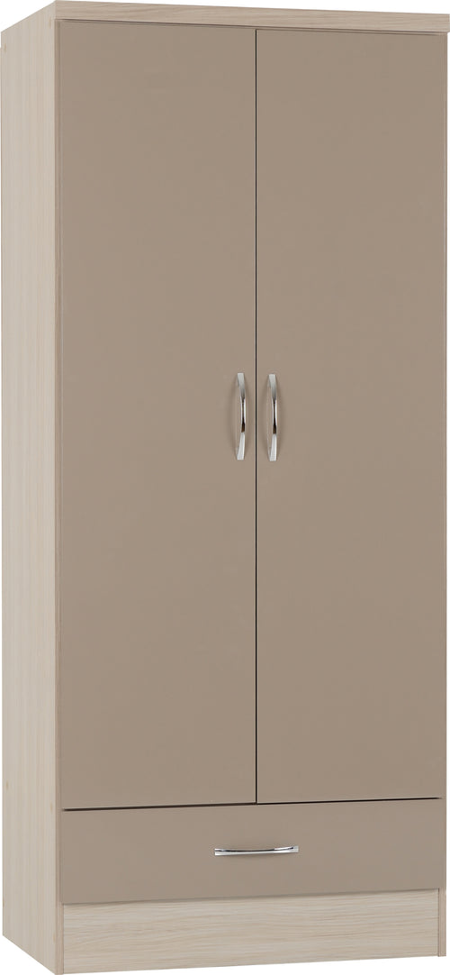 Nevada 2 Door 1 Drawer Wardrobe in Oyster