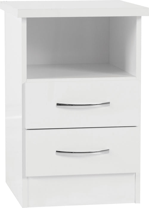 Nevada 2 Drawer Bedside Table in White
