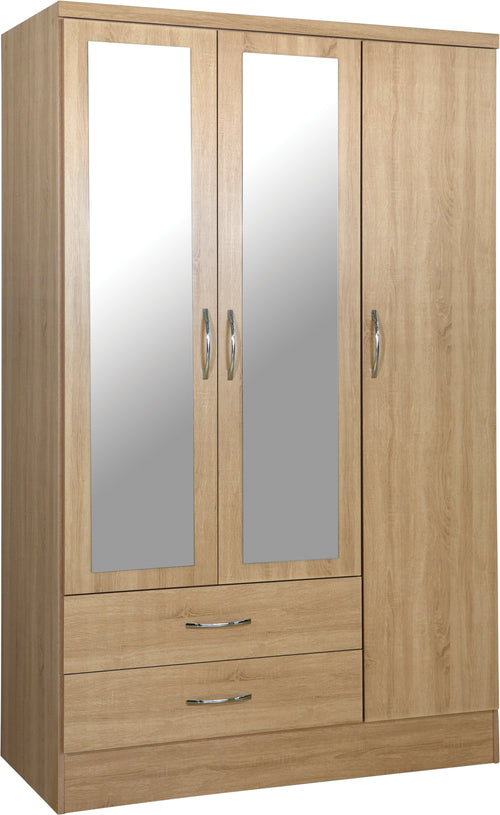 Nevada 3 Door 2 Drawer Mirrored Wardrobe in Sonoma
