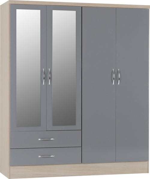 Nevada 4 Door 2 Drawer Mirrored Wardrobe in Grey