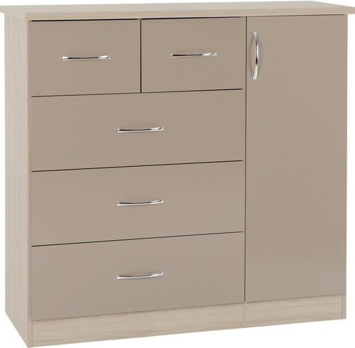 Nevada 5 Drawer Low Wardrobe in Oyster