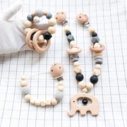 Baby Elephant Wooden Stroller Chain, Rattle, and Pacifier Clip Homeplistic
