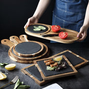 Serving Tray Ena Slate + Wood Serving Trays Homeplistic