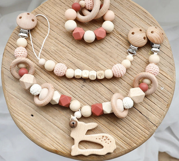 Baby Fawn Wooden Stroller Chain, Rattle, and Pacifier Clip Homeplistic