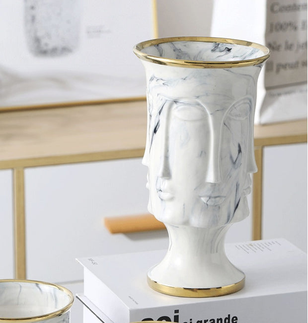 Vase Marble Face Flower Pot and Vase Homeplistic