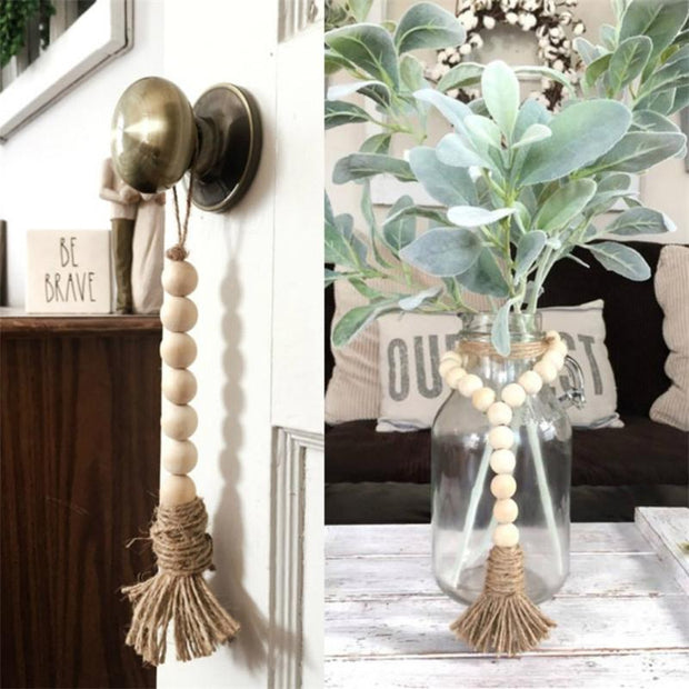 Decor Natural Wooden Beaded Tassel Homeplistic