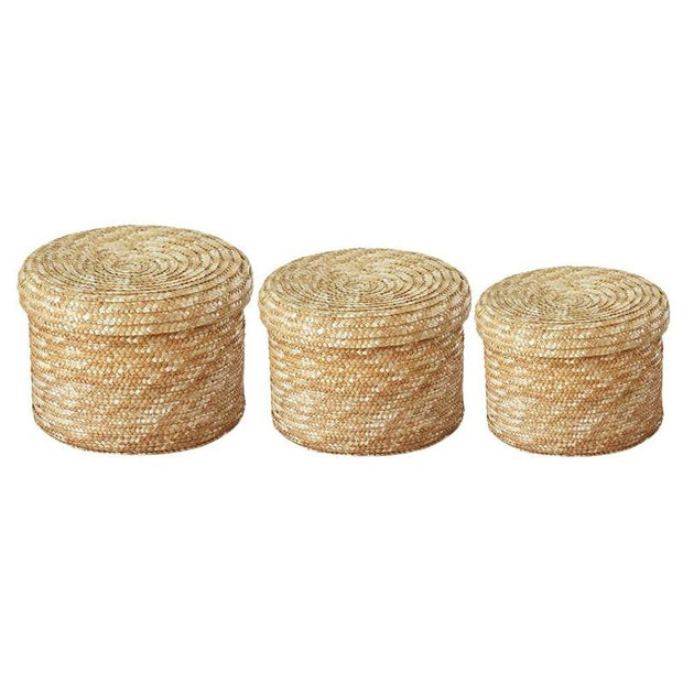 Basket Set of 3 Handmade Seagrass Woven Storage Baskets with Lid Homeplistic
