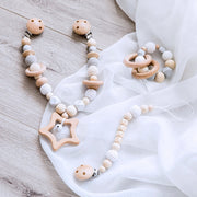 Baby Star Wooden Stroller Chain, Rattle, and Pacifier Clip Homeplistic