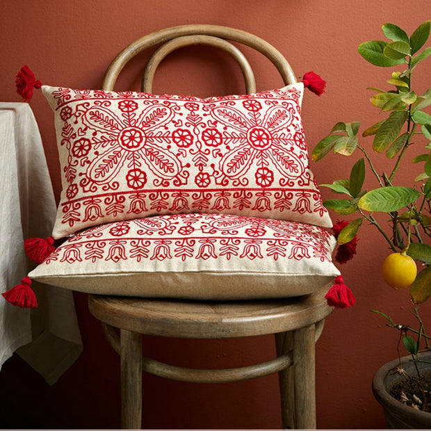 Ruby Embroidered Pillows