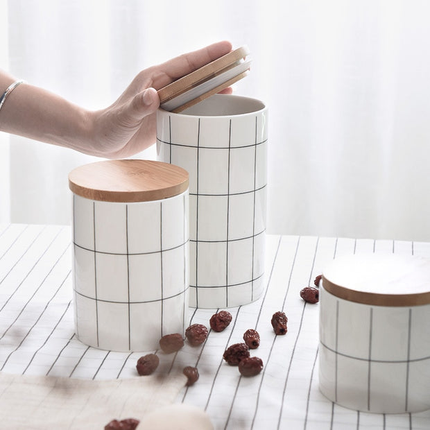 Grid Ceramic + Wood Canisters