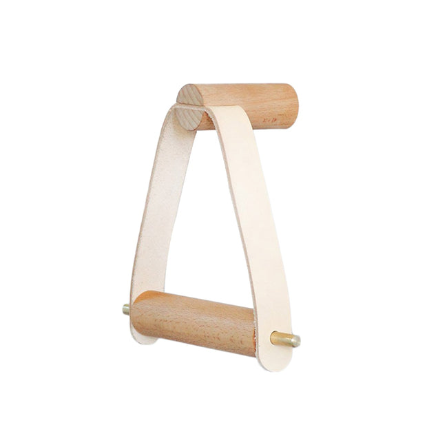 Lucy - Leather + Oak Toilet Paper Holder
