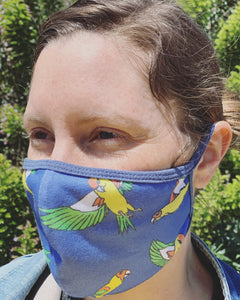 Face Mask With Flying Parrots Design
