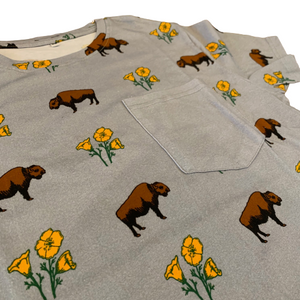 Unisex Buffalo Poppies Slate Grey Cotton Pocket Tee