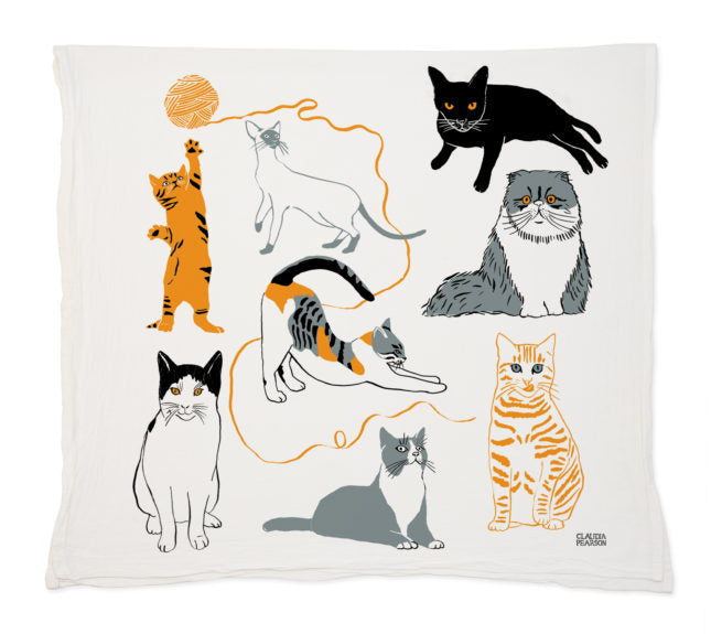 Claudia Pearson Cat Tea Towels