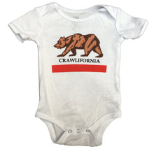 Load image into Gallery viewer, Infant White Crawlifornia Bodysuit Onesie