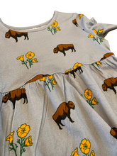 Load image into Gallery viewer, Kids Buffalo Poppies Slate Grey Cotton Dress