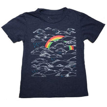 Load image into Gallery viewer, Kids Heather Navy Rainbow Tee