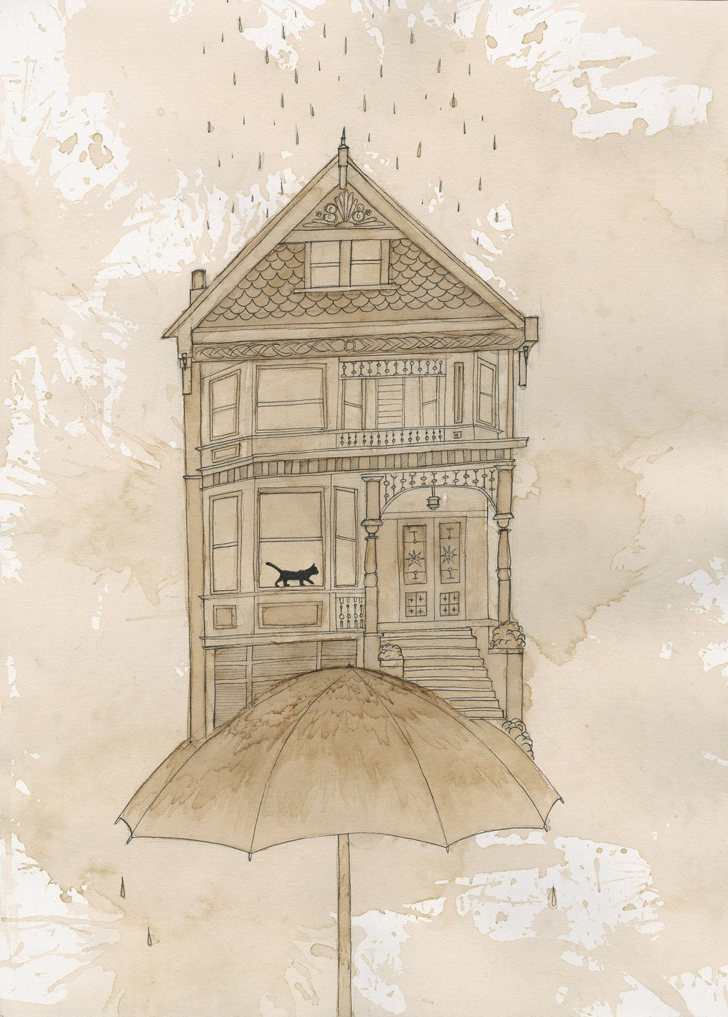 Limited Edition Umbrella House Signed Print