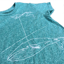 Load image into Gallery viewer, Kids Heather Teal Whale with Kite Tee