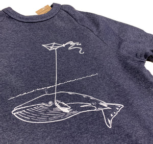 Unisex Navy Whale With Kite Crew