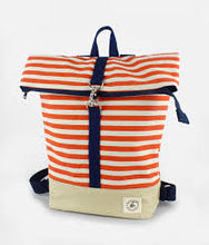 Load image into Gallery viewer, Orange & White Stripe Backpack