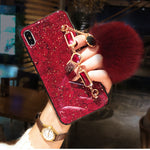 VaryFun丨British Style Luxury iPhone Case with Gem Bracelet and Plush Ball