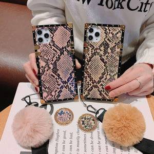 Baroque Style Snake Pattern Phone case with stand hair ball for iPhone