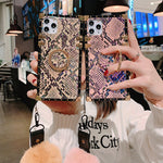 Baroque Style Snake Pattern Phone case with stand hair ball for Samsung