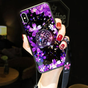 2019 New Cherry Blossom iPhone Case With Diamond Ring - hotbuyy