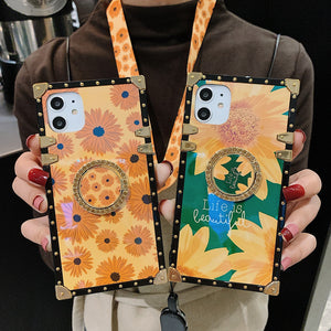 Vintage Summer Style Flower Lanyard Ring Phone Case(for iPhone/Samsung/Huawei)