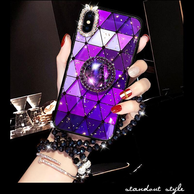 2020 Bohemian Gold Foil Diamond iPhone Case With Ring