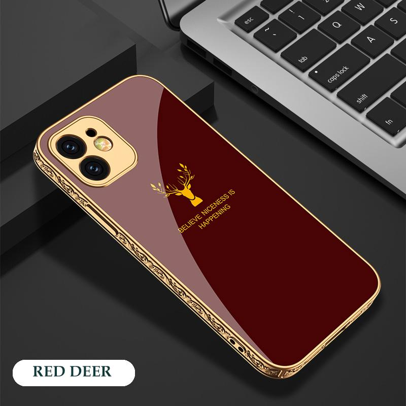 Luxury Baroque Style Carving Edge Protection Tempered Glass Case For iPhone 12