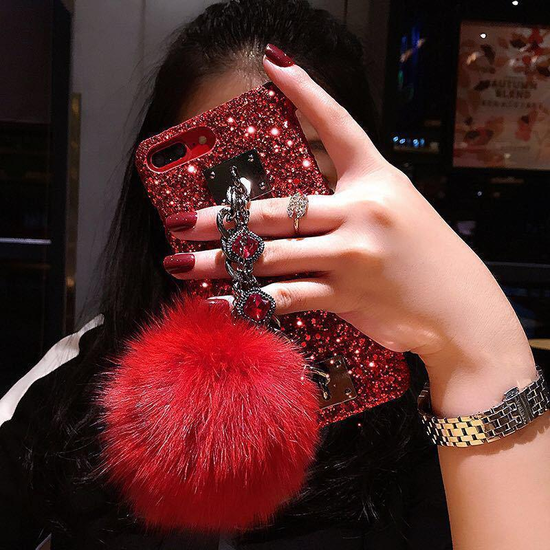 Dazzling Plush Ball Glitter Airbag Mobile Phone Case For iPhone (With Bracket) - VooChoice