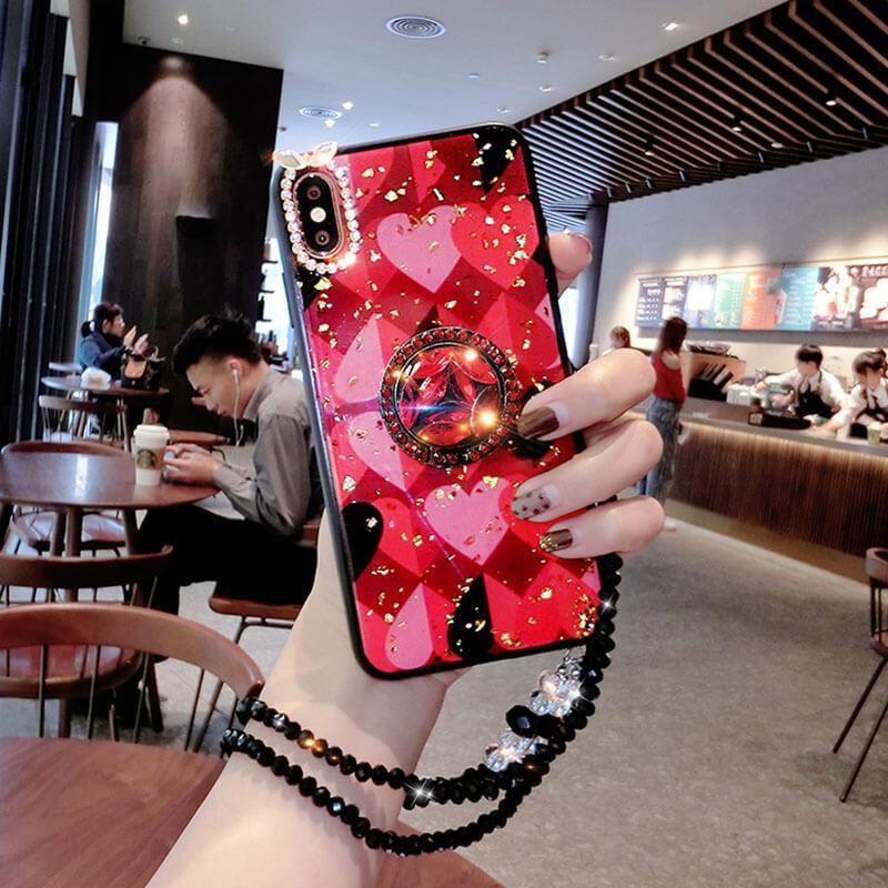 2019 Newest Luxury Diamond Phone Case With Bead Chain For HUAWEI