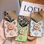 Luxury clover tempered mirror ring stand iPhone case