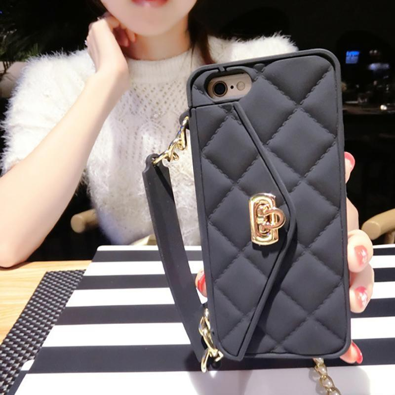 2019 Luxury New Diagonal Chain Lanyard Wallet iPhone Case - hotbuyy