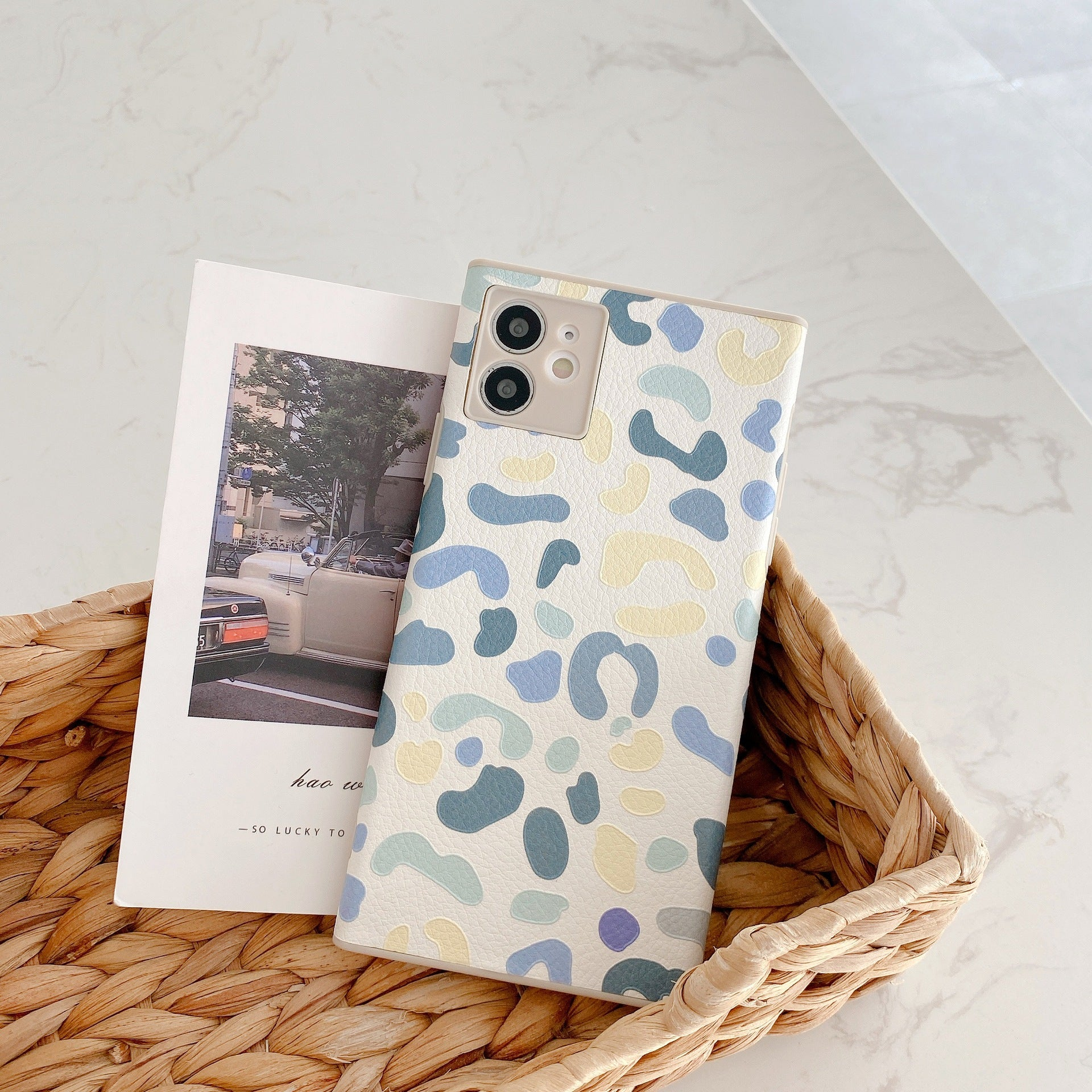Square lambskin pattern iPhone case