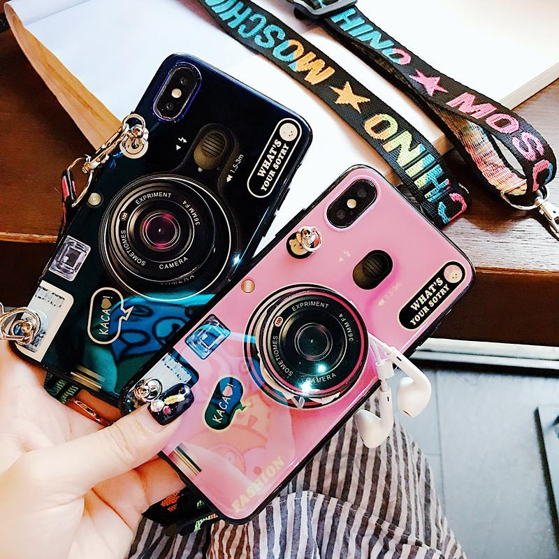 2020 Ins Trendy Bracket Lanyard Camera Huawei Case