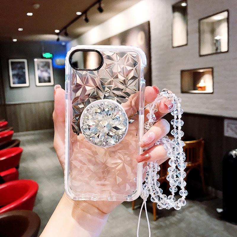 3D Diamond Transparent Shockproof PopSocket Case With Crystal Chain For iPhone and Samsung