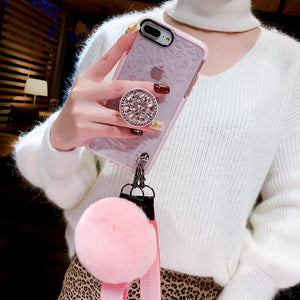 2019 New Diamond-shaped iPhone Case with PopSockets and Hairball - hotbuyy