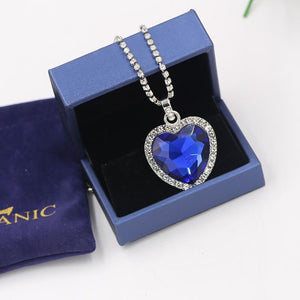 Heart of Ocean blue heart love forever pendant Necklace - hotbuyy