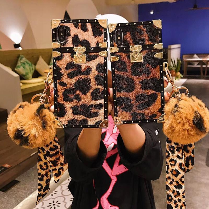 Luxury Leopard Print Strap Fox Hair Ball iPhone Case - hotbuyy