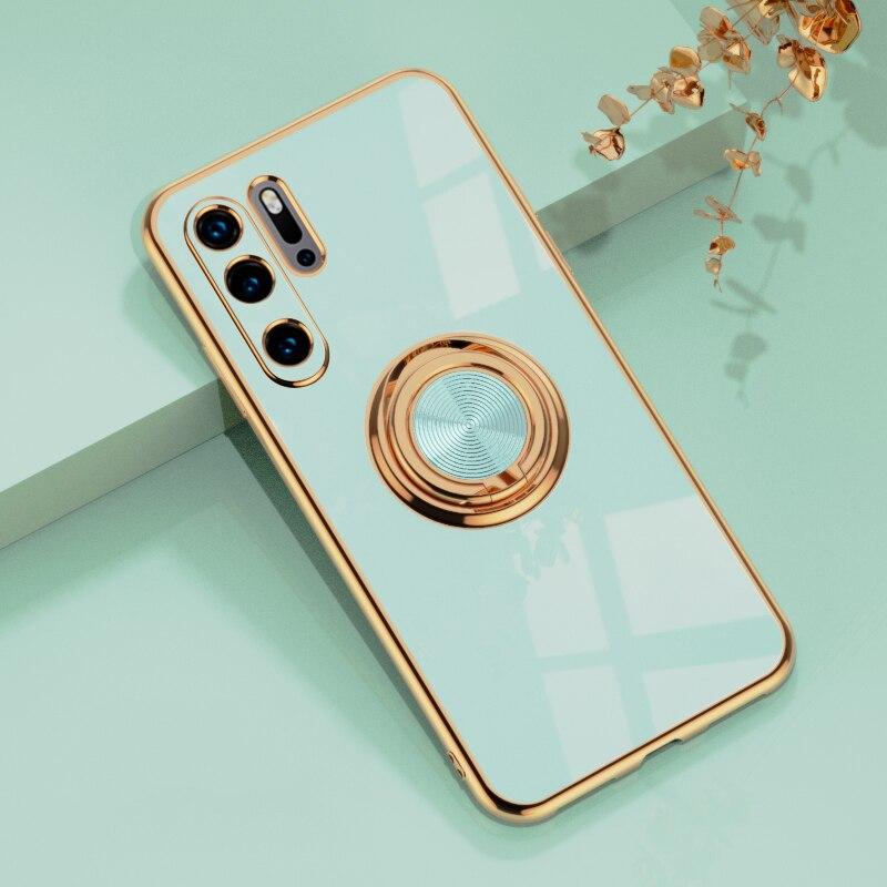 Luxury Plating Silicone Case For Huawei P30 Pro P20 Mate 20 P30Pro Honor 20 30 Pro Phone Stand Ring Holder Full Cover