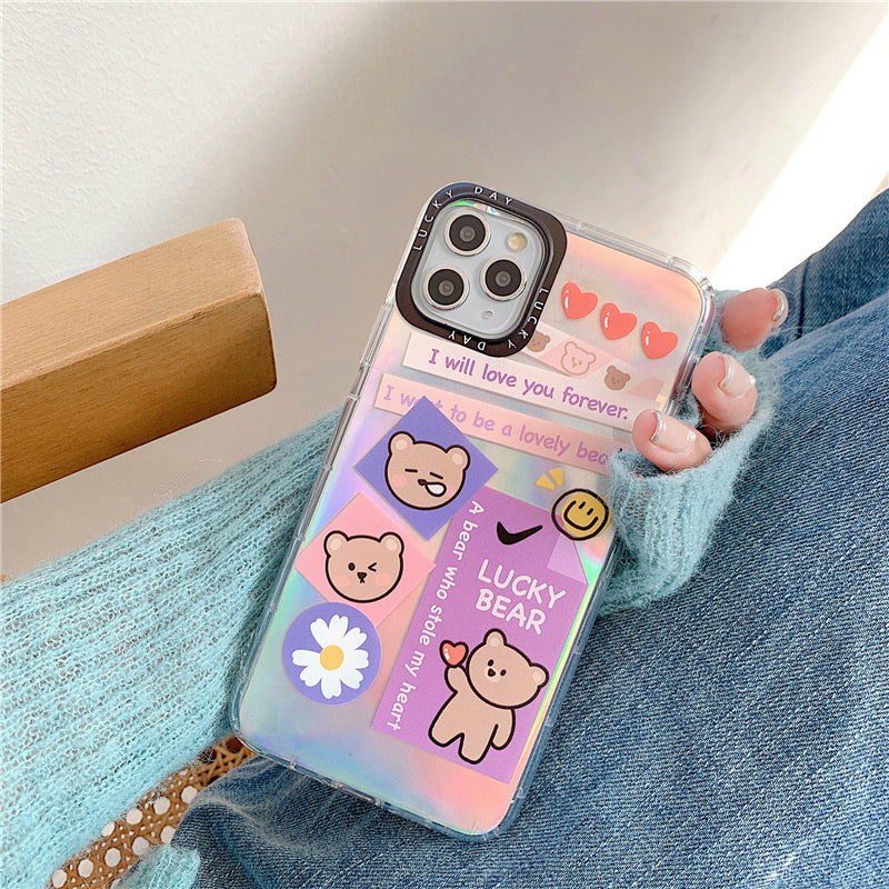 Instagram Lucky Bear Laser Style iPhone Case
