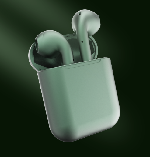 Metallic Colour Wireless Earbuds Dark Green