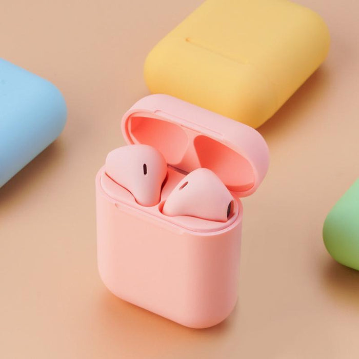 Metallic Colour wireless earbuds matte Pink