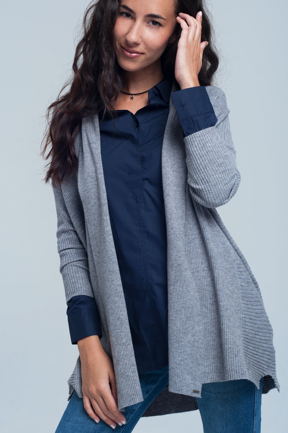 Ribbed Oversized Cardigan in Grey